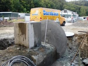 Betonsägearbeiten zur Entfernung eines Fundaments
